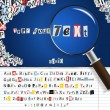 Searching magnifier with set of vector letters from newspaper and magazines — Vettoriali Stock