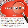 Searching magnifier with set of vector letters from newspaper and magazines on red — 图库矢量图片
