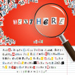Searching magnifier with set of vector letters from newspaper and magazines on red — Stock vektor