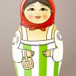 Traditional hand-drawn painted varnished colorful wood doll. Matrioska — Vettoriali Stock