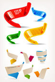Mega set of colorful origami and handmade ribbons. Place your text here — Stockvector