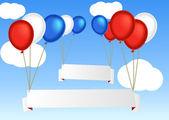 空の空白の情報バナーと飛行の気球のグループ — ストックベクタ