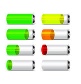 Batteries with different level of charge. — Stock Vector