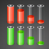 Batteries with different level of charge. — Cтоковый вектор