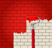 Mur de brique qui est peint en rouge par rouleau — Vecteur