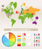Infographics. Earth map and different chart — Stock Vector