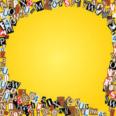 Vector talk bubble of letters from newspaper and magazines on yellow — Stock Vector