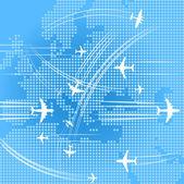 Las trayectorias de los aviones sobre el Resumen mapa Europa oe — Vector de stock