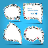 Vektorové řeči bubliny dopisů z novin a časopisů na modré — Stock vektor