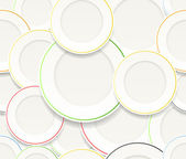 Seamless background of White plates set with colorful rims — Stock Vector