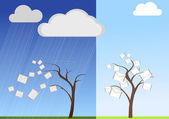 Mail-tree in good and bad weather — Stock Vector