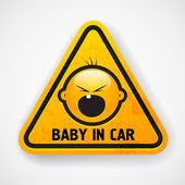 Car decal with the screamong baby`s face — Stock Vector