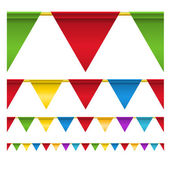 Color triangle celebration flags isolated on white — Stock Vector