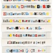 Different colors vector letters from newspaper and magazines collection - Stock Vector