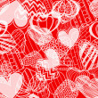 Seamless background of hearts on red — Vettoriali Stock
