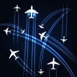 Airplanes trajectories background — Stock Vector