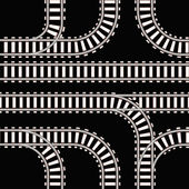 Seamless background of railway tracks on black — Stock Vector