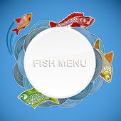 Fish menu vector template. Ready for a text — Stock Vector