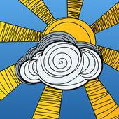 Słońce chowa się za chmury. ilustracja wektorowa — Wektor stockowy