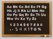 Wood school desks set and hand-drawn chalk alphabet — Stock Vector