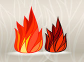 Stained glass style fire set — Stock Vector