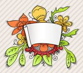 Fantastic style ornamented banner with colorful plant — Stock Vector