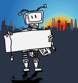 Robot holding a blank information board in a modern city — Stock Vector