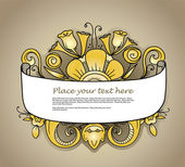 Fantastic style gold flowers ornamented banner — Stock Vector