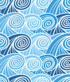 Seamless background of curled abstract blue waves — Stock Vector