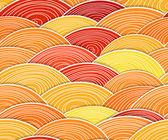 カールの抽象的なオレンジ色の波のシームレスな背景 — ストックベクタ