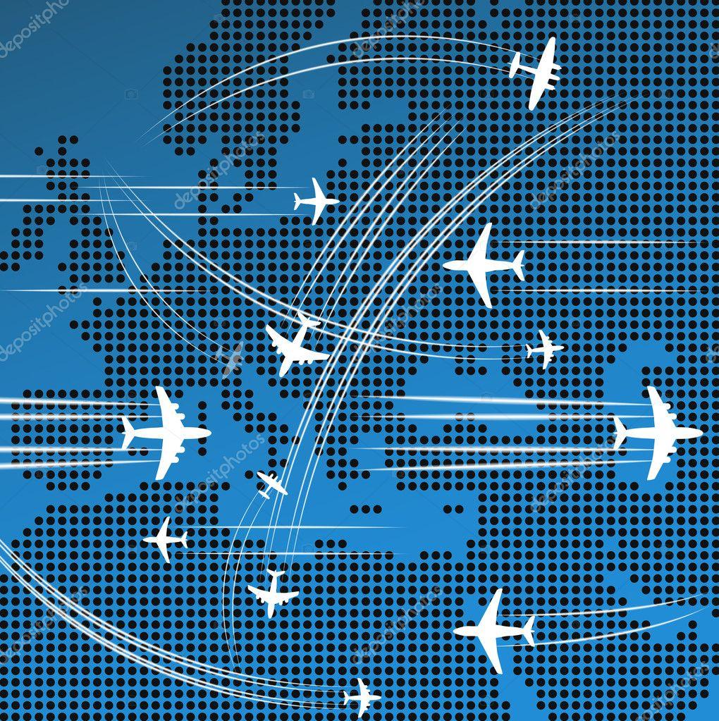 飞机飞越欧洲抽象地图
