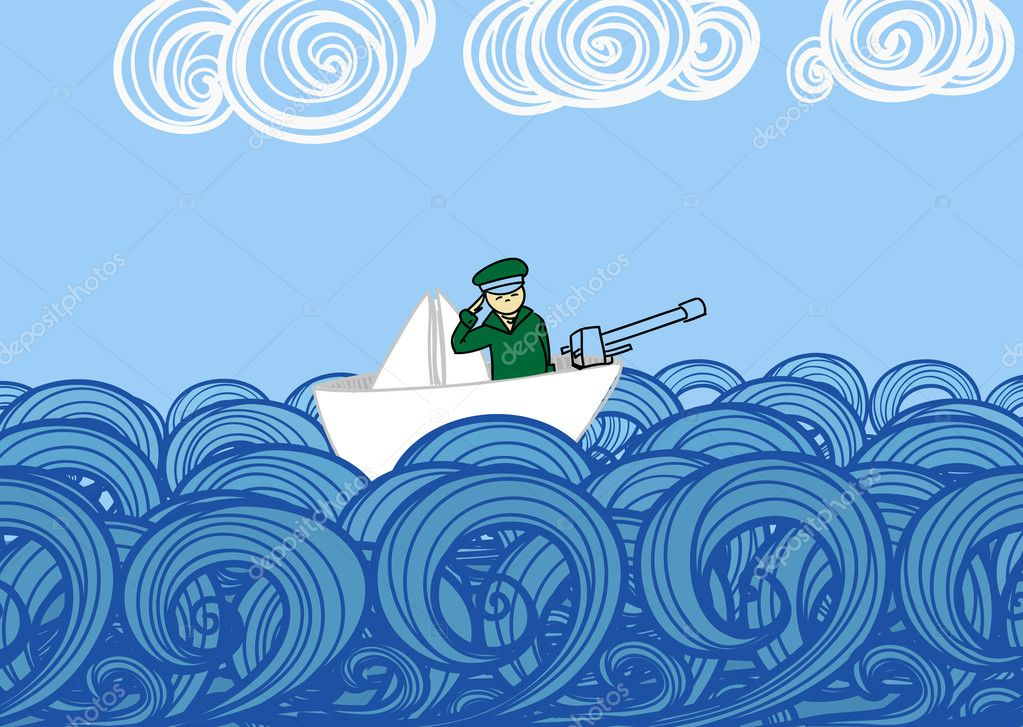 Paper ship with soldier floating on waves — Stock Vector #9732630