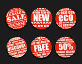 Six Shopping discount labels collection — Vector de stock