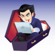 Vampire using computer — Stock Photo