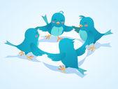 Twitter birds social network illustration — Stock Photo