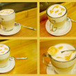 Coffee latte macchiato collage, glass foam pattern — Stock Photo