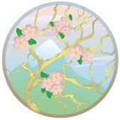 """Oriental cherry against mountain"" — Stock Vector"
