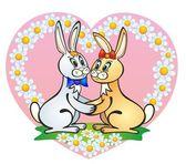 """Enamoured rabbits"" — Stock Vector"