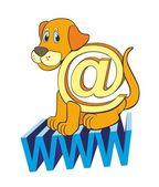 """The Internet a dog @"" — Stock Vector"
