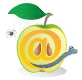 """Half of apple with a worm.@"" — Stock Vector"