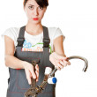 Girl with spanner asking for help — Stock Photo