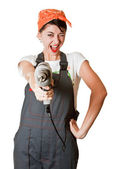Laughing girl with drill — Stock Photo