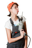 Girl blow out drill after work — Stock Photo