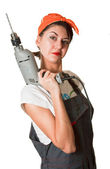 Satisfied girl with drill — Stock Photo