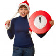 Five minutes to midnight clock and xmas girl — Stockfoto
