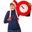 Five minutes to midnight clock and xmas girl — Stock Photo