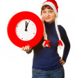 Five minutes to midnight clock and xmas girl — Foto de Stock