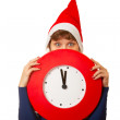 Five minutes to midnight clock and xmas girl — Stock Photo #8974203