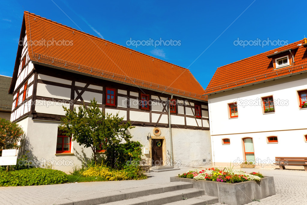 Fachwerk house in germany blue sky — Stock Photo #7993191