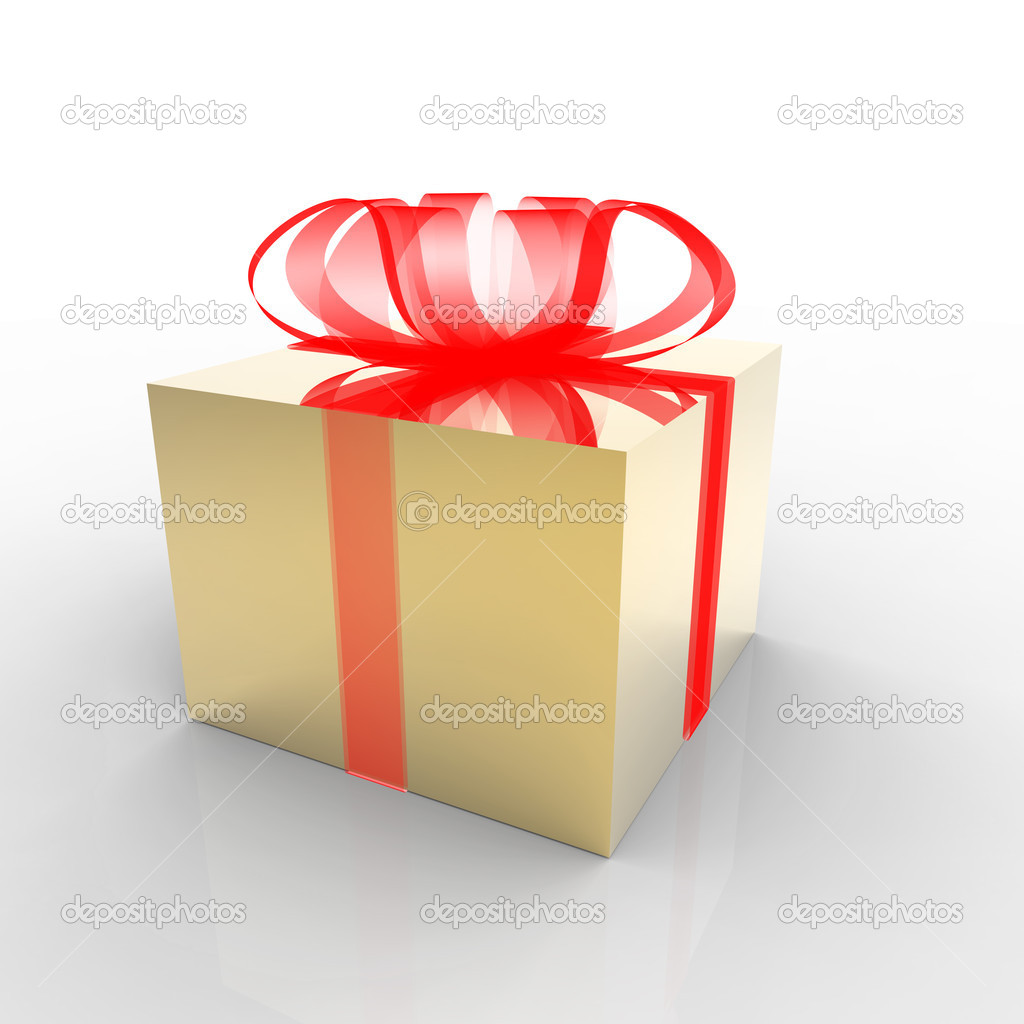 Gold gift box on white  Stock Photo #8735572